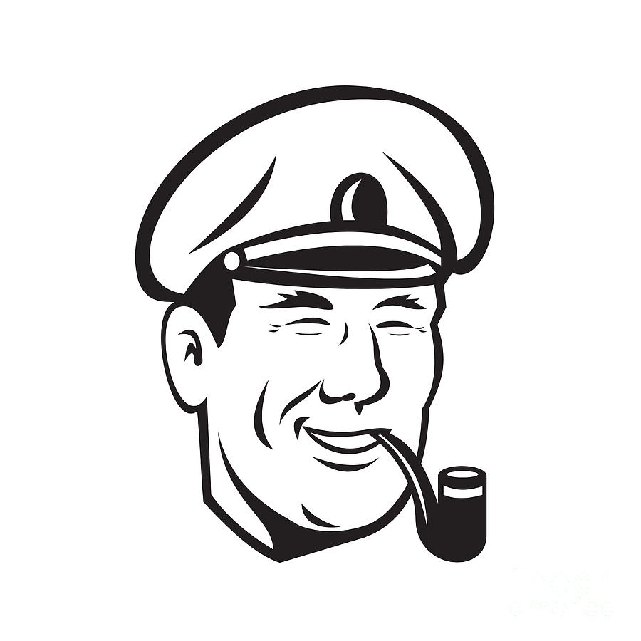 900x900 Sea Captain Smiling Smoke Pipe Retro Digital Art By Aloysius