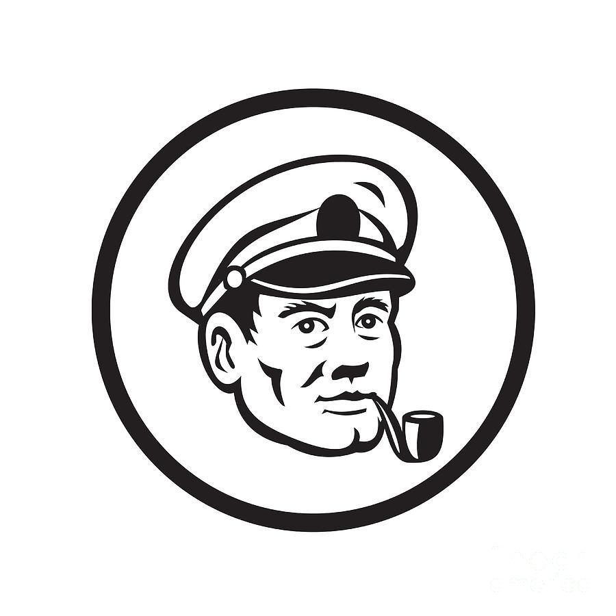 900x900 Sea Captain Smoke Pipe Circle Retro Digital Art By Aloysius Patrimonio