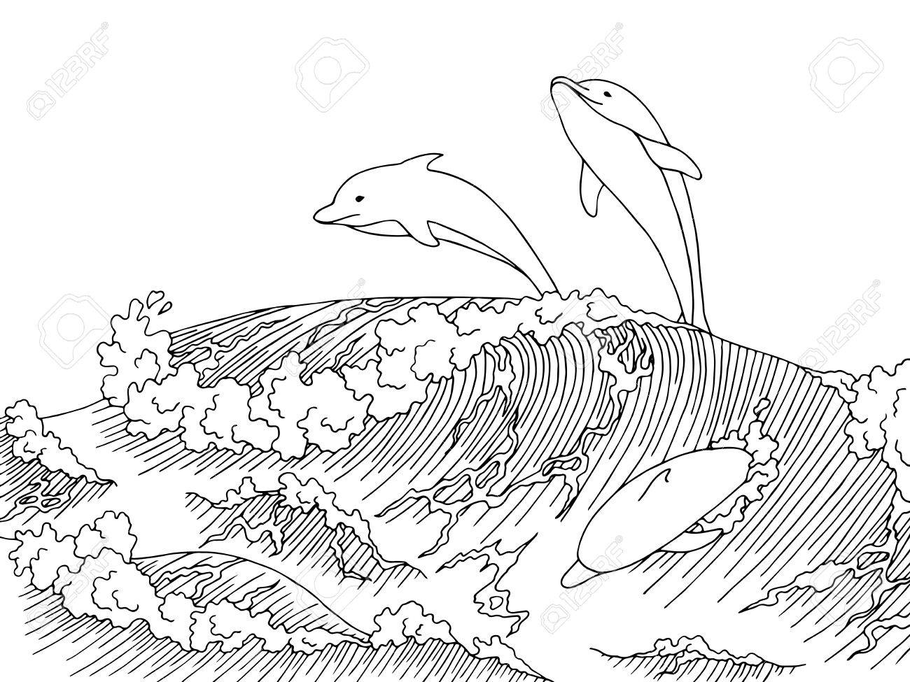 1300x975 Sea Dolphins Wave Graphic Art Surf Black White Landscape Sketch