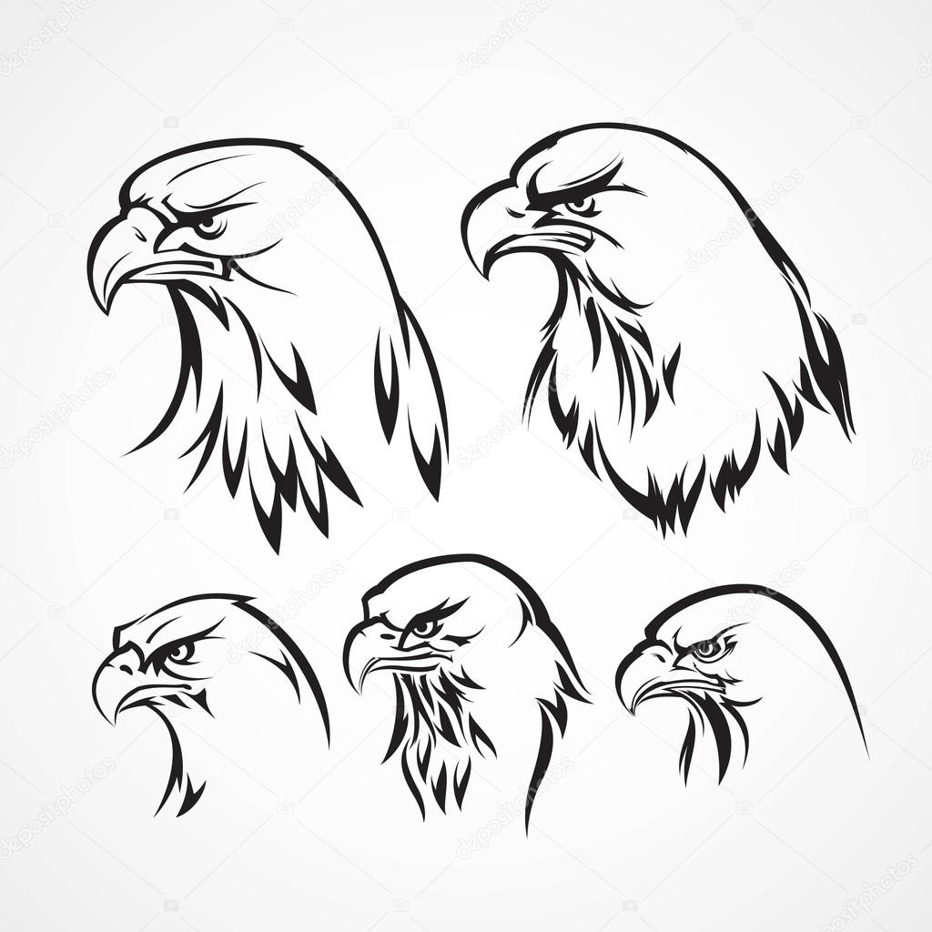 1024x1024 Eagle Badge Template. Silhouette. Vector Illustration Stock