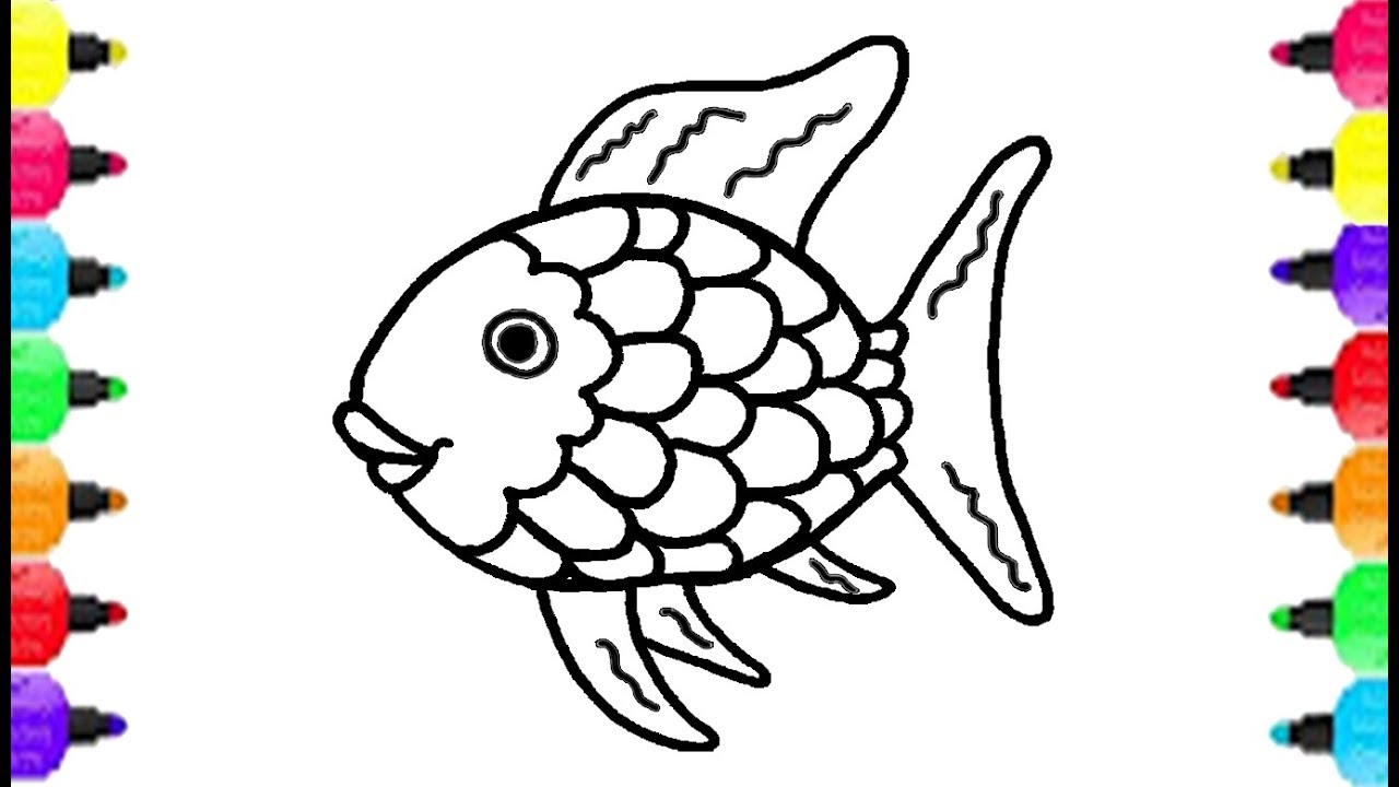 1280x720 Fish Coloring Pages How To Draw Fish And Coloring Fish Rainbow