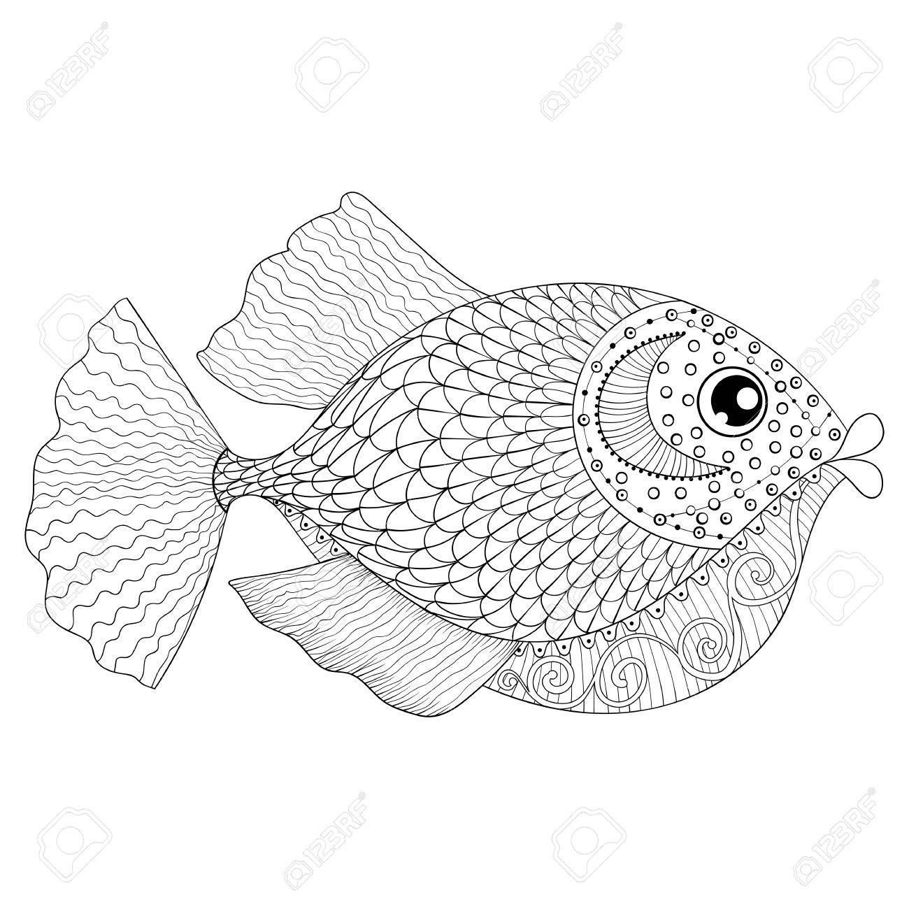 1300x1300 Hand Drawn Fish For Adult Anti Stress Coloring Pages, Post Card