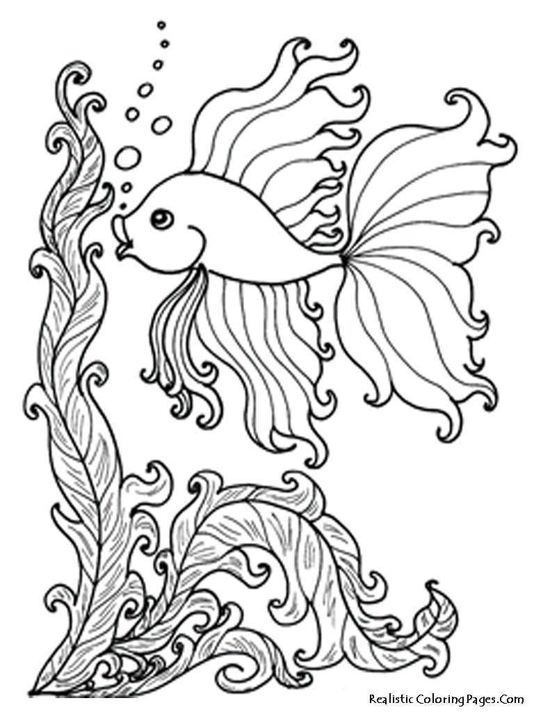 768x1024 Ocean Life Goldfish Coloring Pages And Various Fish For Kids