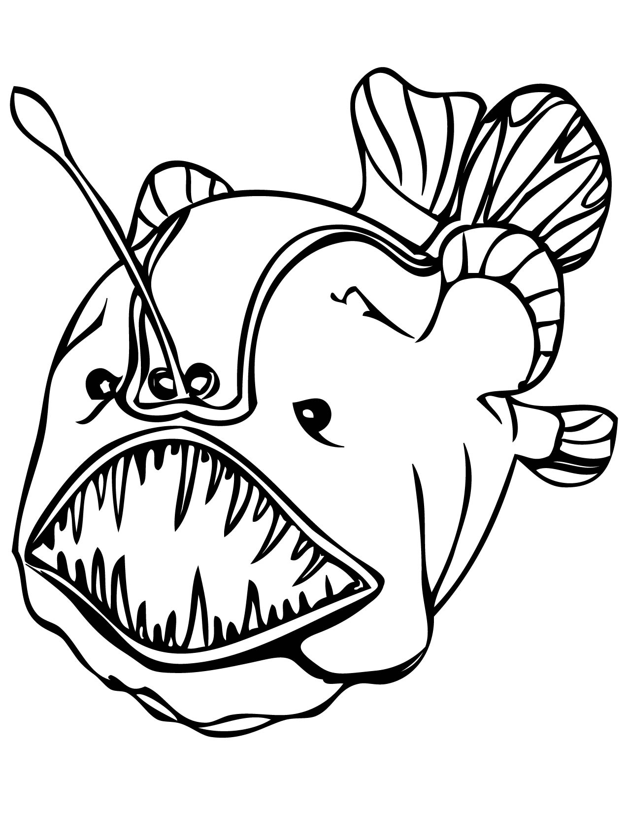1275x1650 Angler Fish Coloring Page