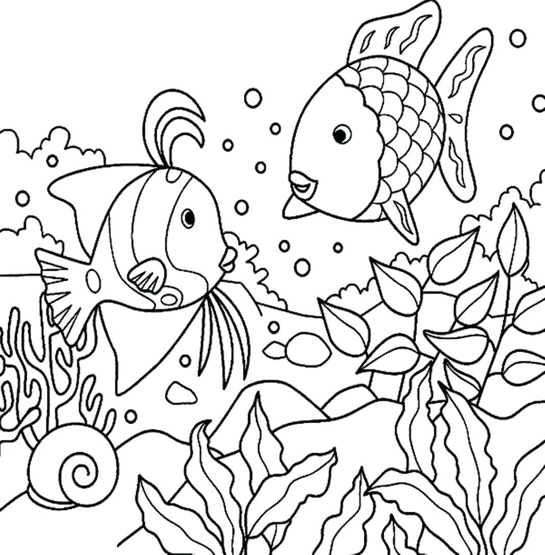 1068x1086 Coloring Sea Fish Coloring Pages Marvelous Deep With Rainbow Page