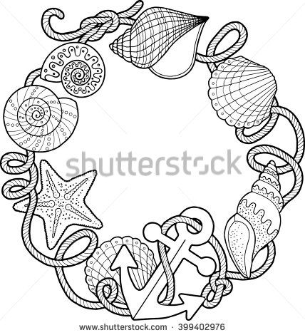 428x470 Round Frame Made Of Shells. Coloring Pages. Vector Elements
