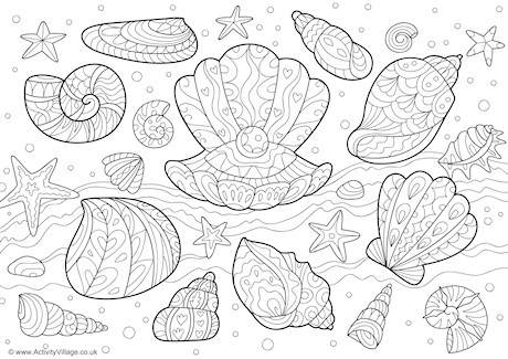 460x325 Shells Doodle Colouring Page