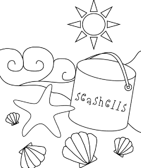 600x715 Drawn Shell Coloring Page