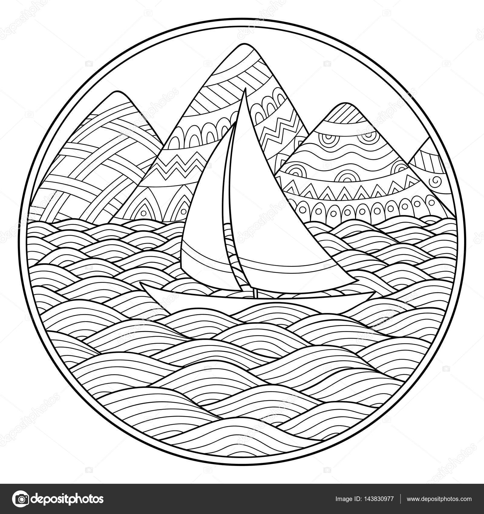 1600x1700 Doodle Pattern In Black And White. Landscape Pattern For Coloring