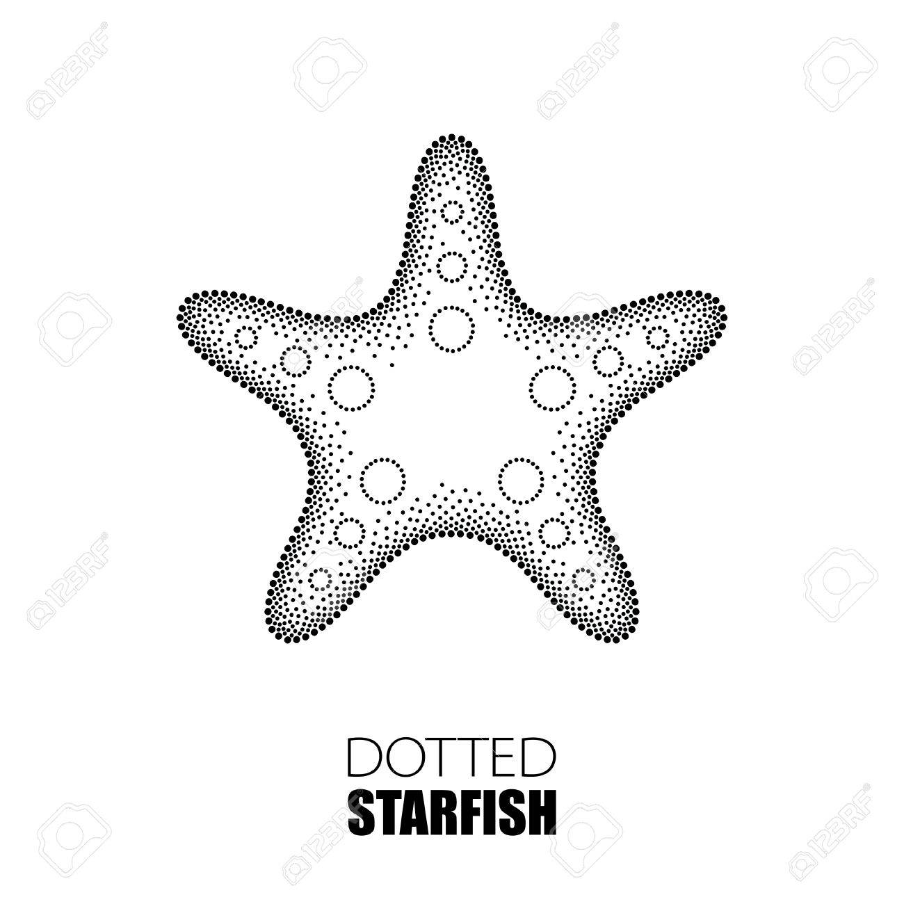 1300x1300 Vector Illustration Of Dotted Starfish Or Sea Star In Black