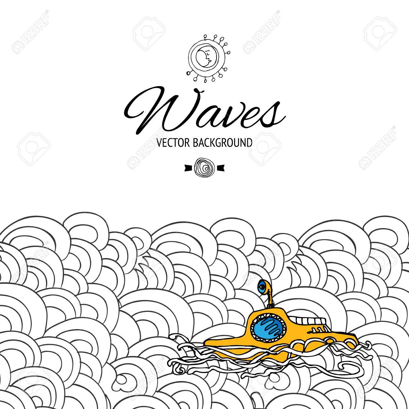 1300x1300 Sea Waves With Yellow Submarine Vector Illustration. Travel Banner