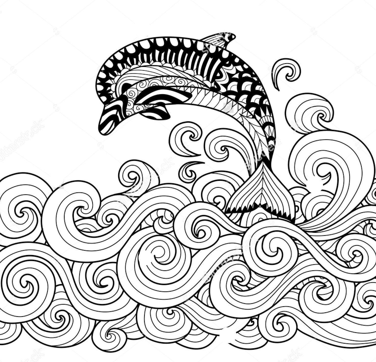 1477x1421 Zentangle Dolphin Vector Coloring Page Art Coloring Pages