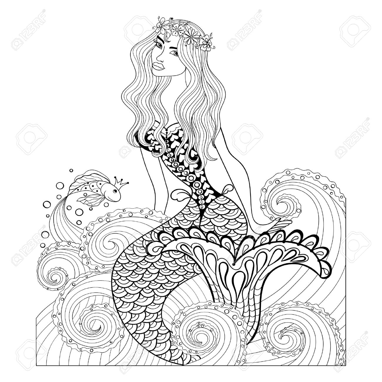 1300x1300 Fantastic Mermaid In Sea Waves With A Goldfish And Wreath On