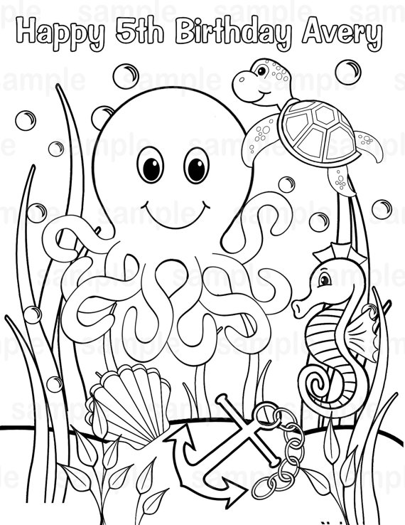 570x738 Personalized Printable Under The Sea Birthday Party Favor