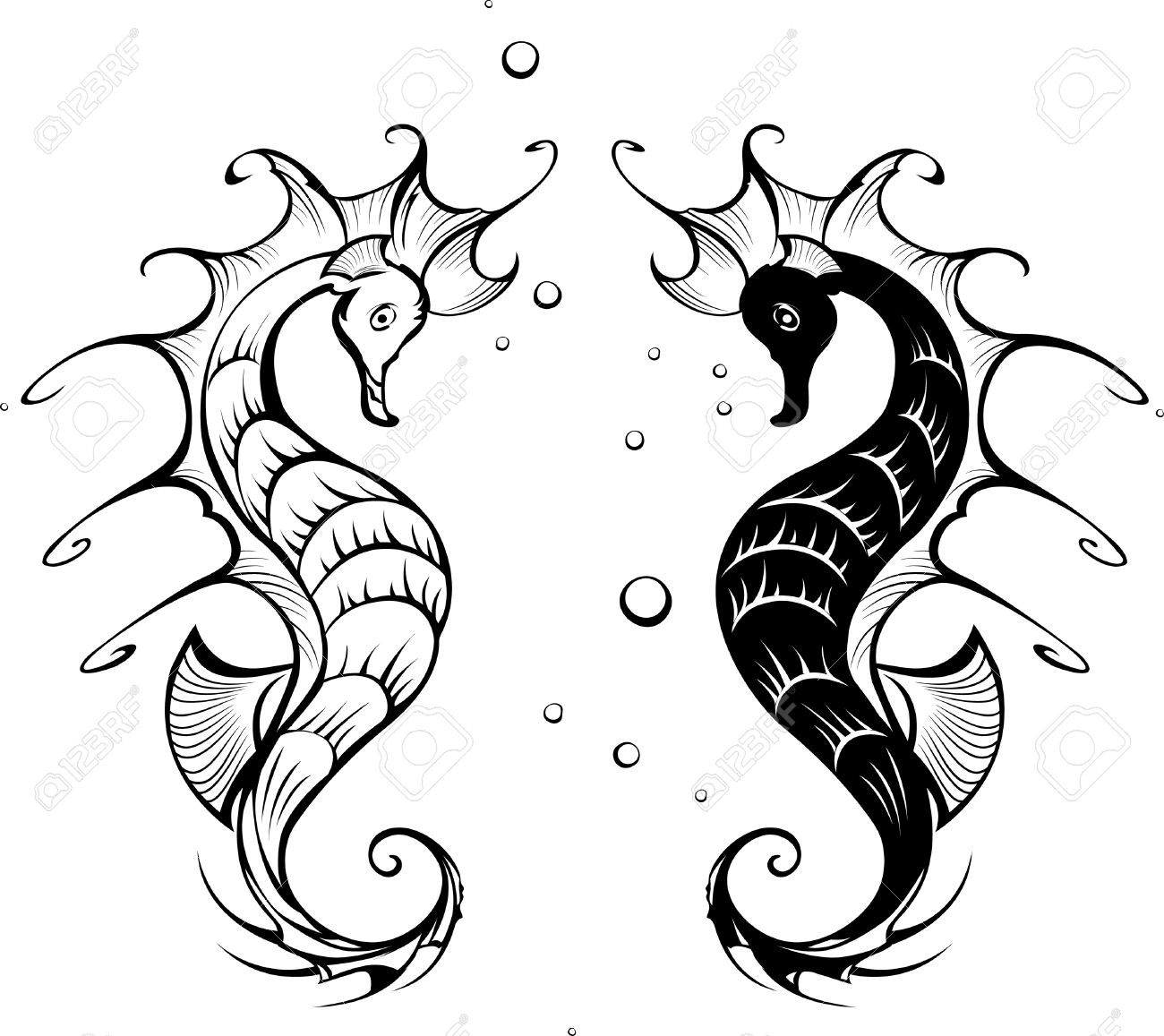 Seahorse Cartoon Drawing