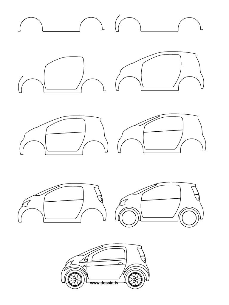 768x1024 Drawing Small Car