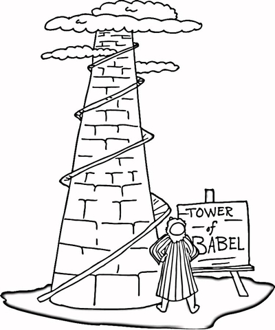 400x480 Tower Of Babel Coloring Page Free Printable Coloring Pages