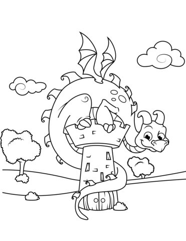 371x480 Cute Dragon Sitting On Tower Coloring Page Free Printable