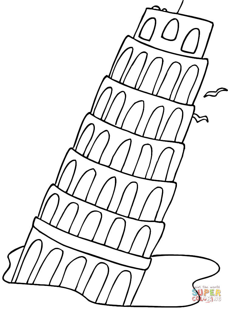 750x1016 Falling Tower Pisa Coloring Page Free Printable Coloring Pages