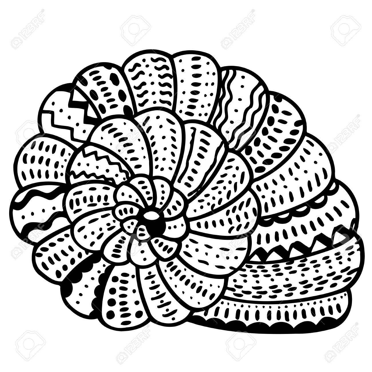 1300x1300 Stylized Shell. Hand Drawn Aquatic Doodle Vector Illustration