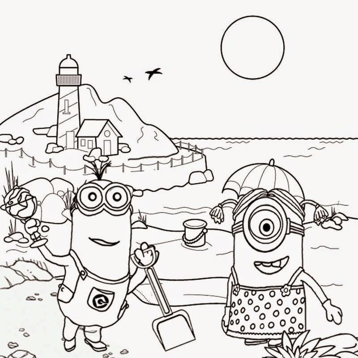 736x736 Free clipart drawing for teens seaside holiday fun coloring