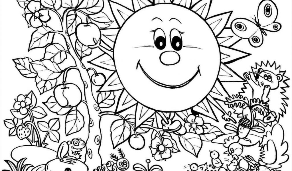1024x600 The Images Collection Of Coloring Page For Kids Seasons Happy