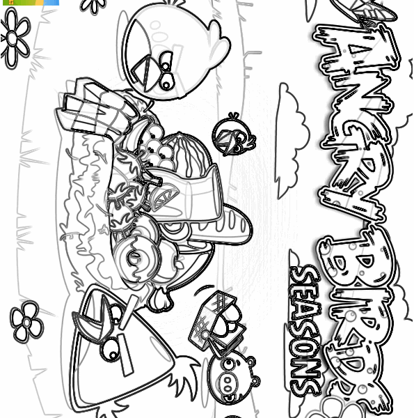 595x600 Angry Birds Seasons Coloring Pages Angry Birds Seasons