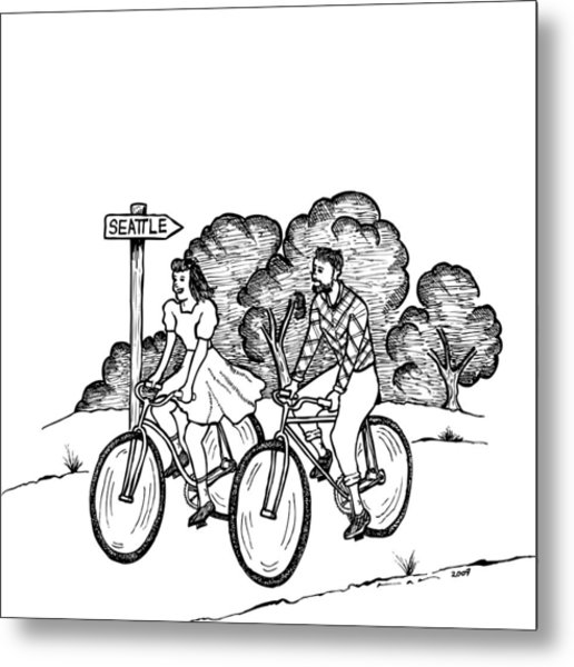 516x600 True Romance Seattle Bike Ride Drawing By Karl Addison