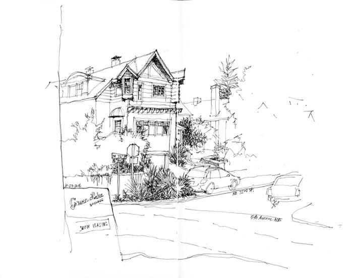700x551 Urban Sketchers Seattle Green Lake Street Scene