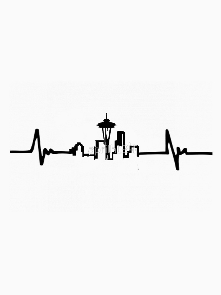 750x1000 Heart Beat And Seattle Skyline Women's Fitted Scoop T Shirt By