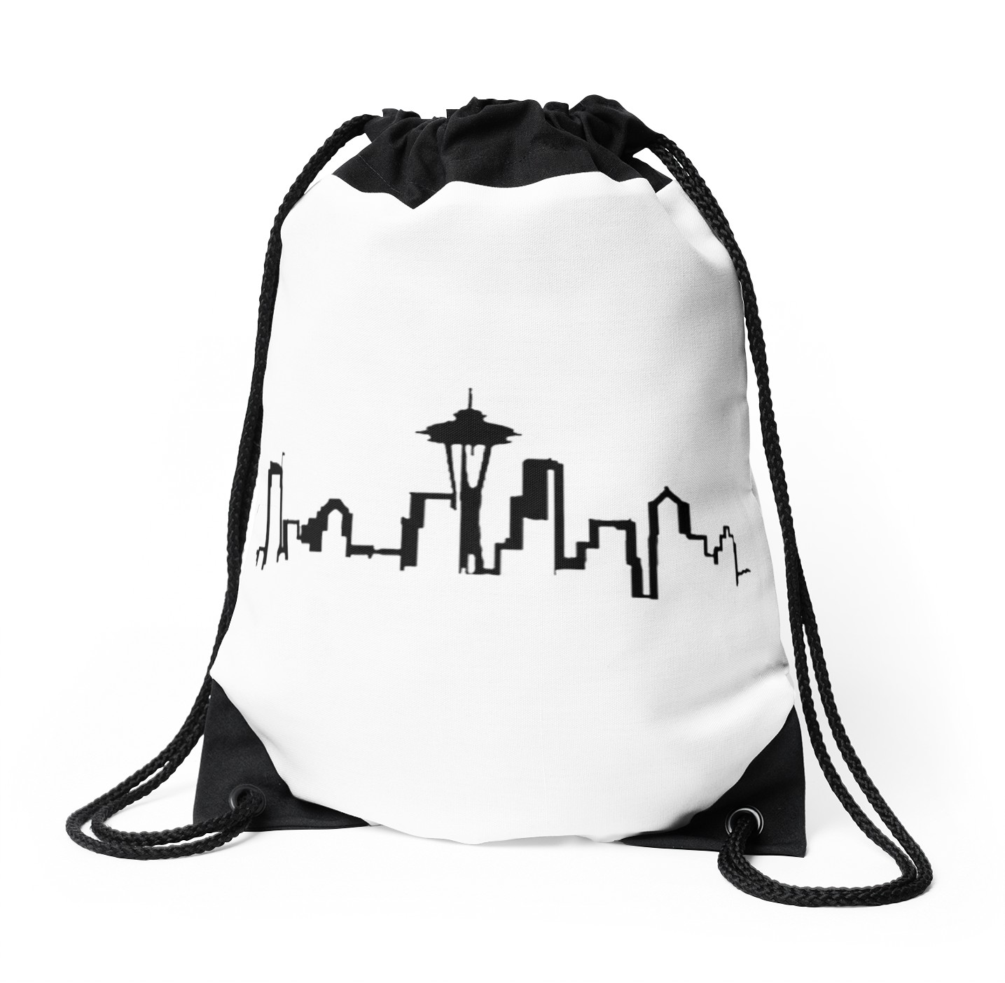 1435x1404 Seattle Skyline Drawstring Bags By Aprilh124 Redbubble