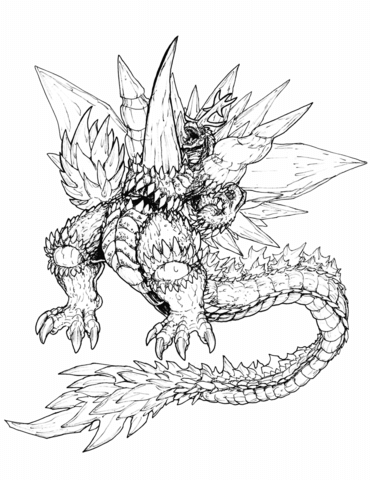 371x480 Ultimate Space Godzilla Coloring Page Free Printable Coloring Pages