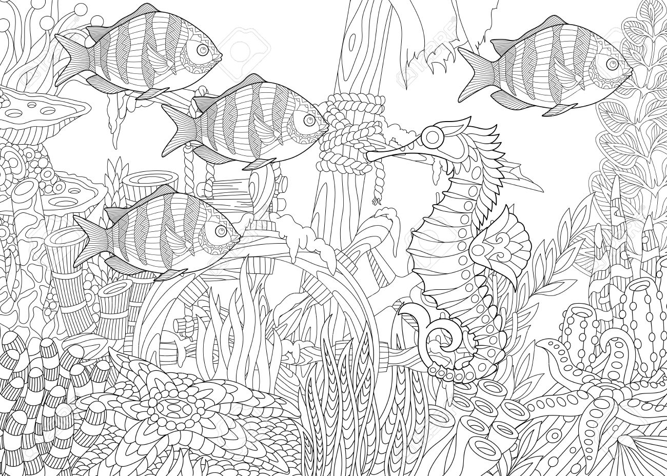 1300x928 Stylized Composition Of Tropical Fish, Seahorse, Underwater