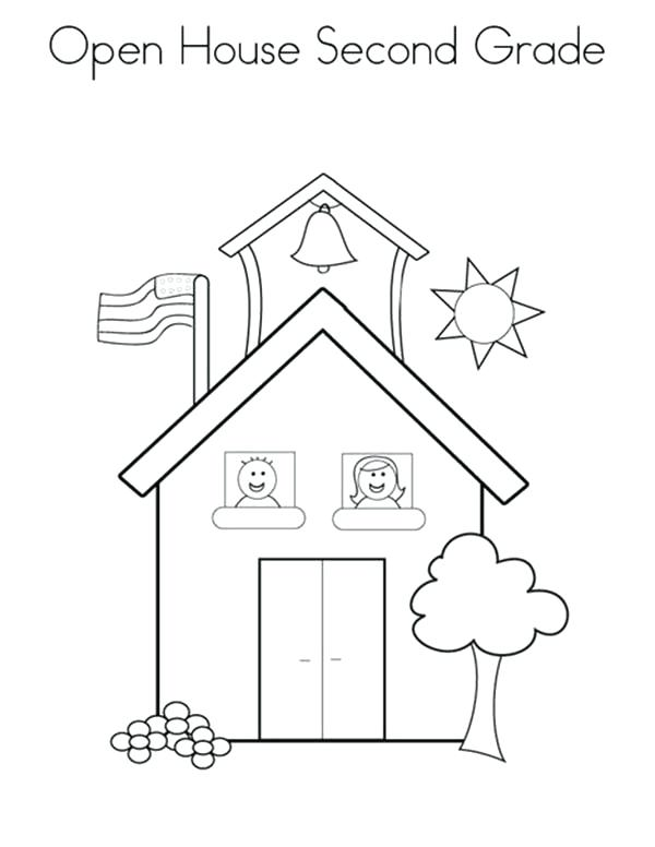 600x776 Second Grade Coloring Pages Open School House For Second Grade