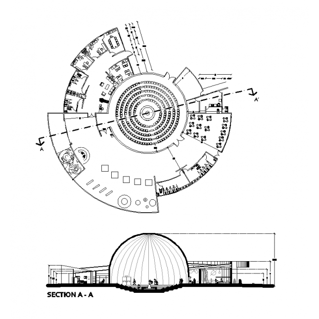 645x645 2d Model Planetarium Cad Drawing