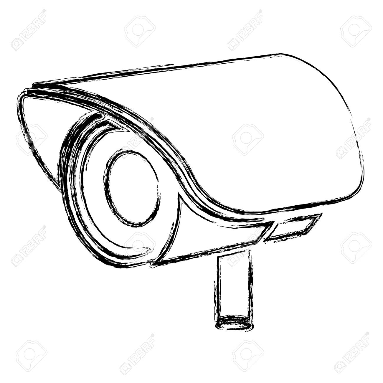 1300x1300 Monochrome Sketch Of Exterior Video Security Camera Vector