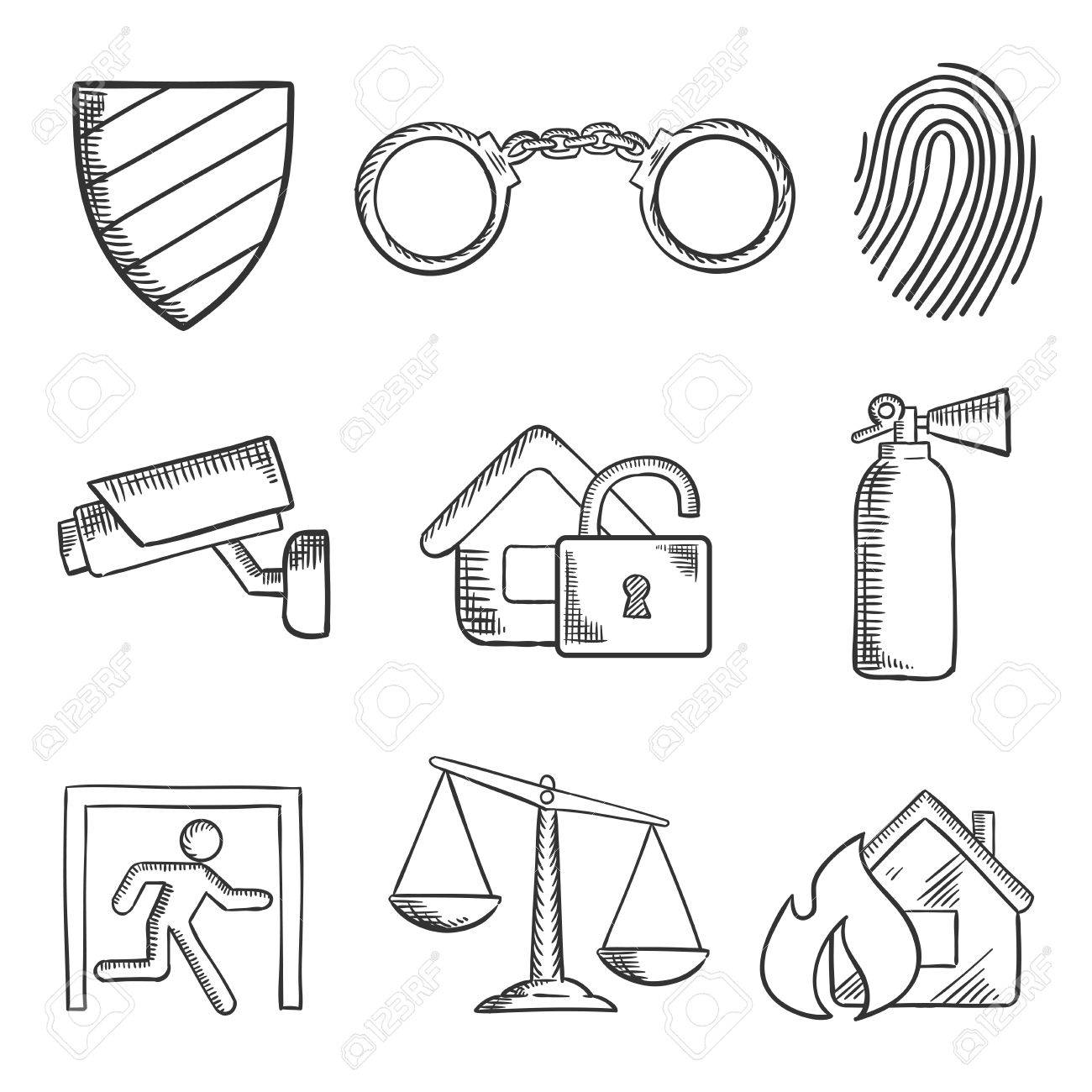 1300x1300 Safety And Security Sketch Style Icons With A Security Shield