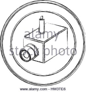 300x321 Monochrome Sketch Of Video Security Camera In Shape Dome Stock