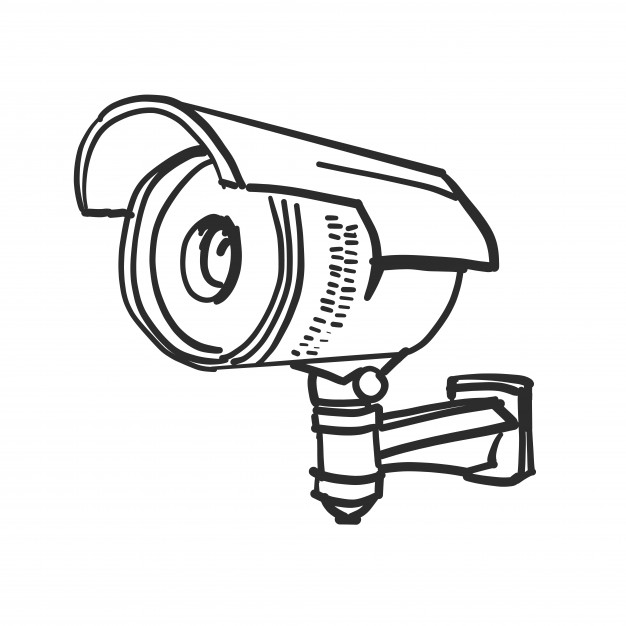 626x626 Doodle Security Camera Vector Free Download