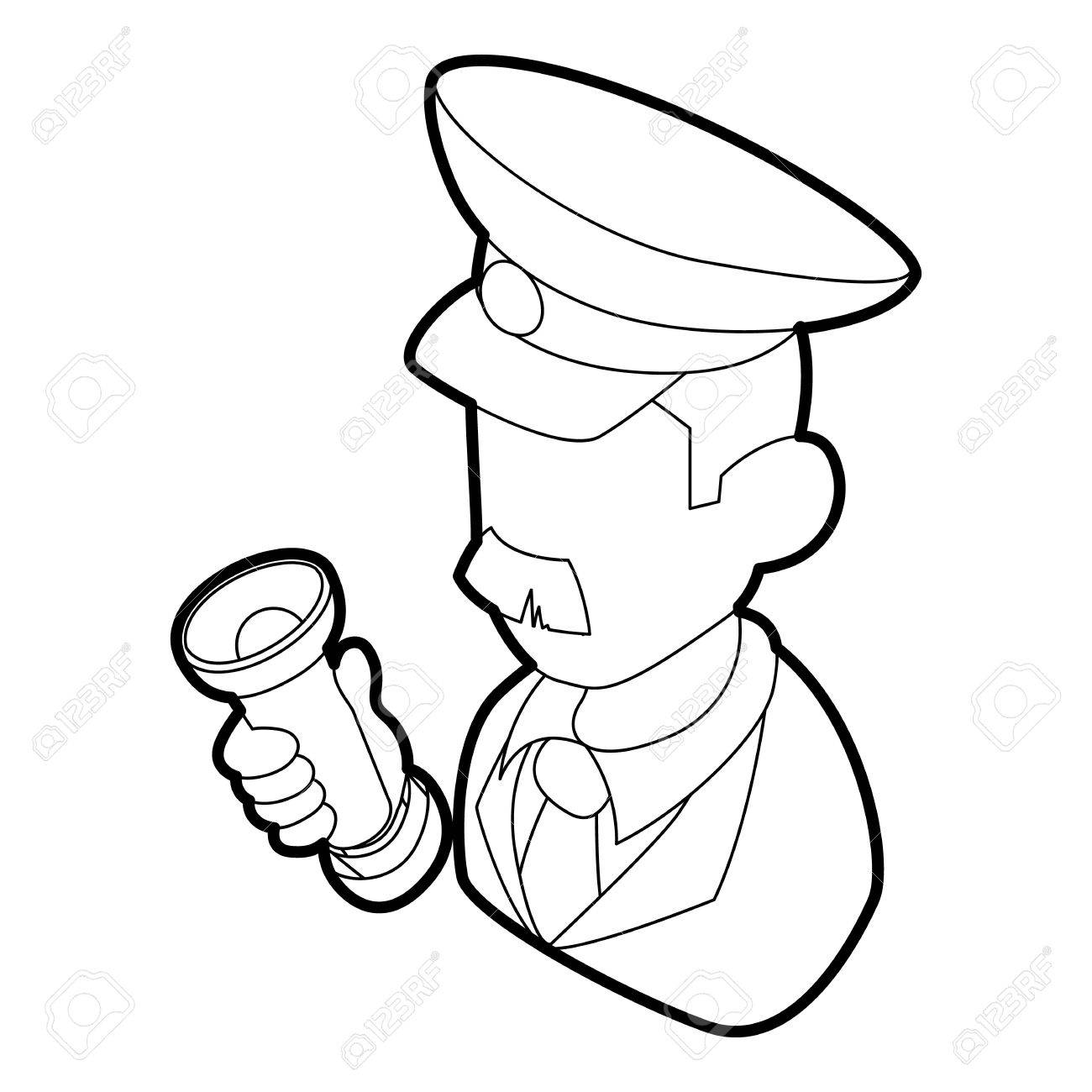 1300x1300 Museum Security Guard Icon In Outline Style On A White Background