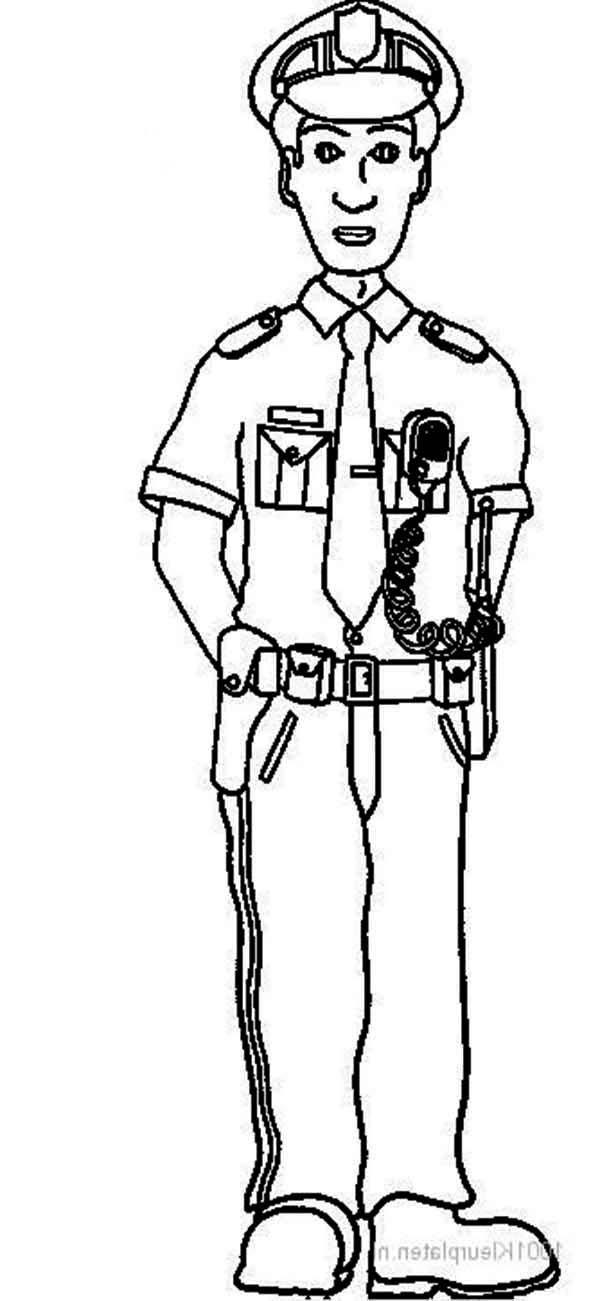 600x1301 Security Guard Coloring Sheet Security Officer Coloring Page