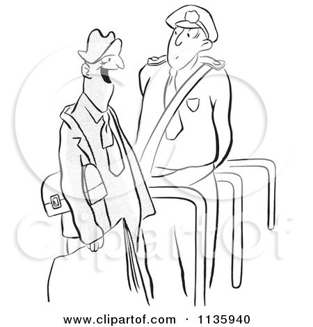 450x470 Clipart Of A Retro Vintage Security Guard And Man Black And White