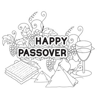 320x320 Happy Passover. Greeting Card, Coloring Page. Hand Drawn Elements