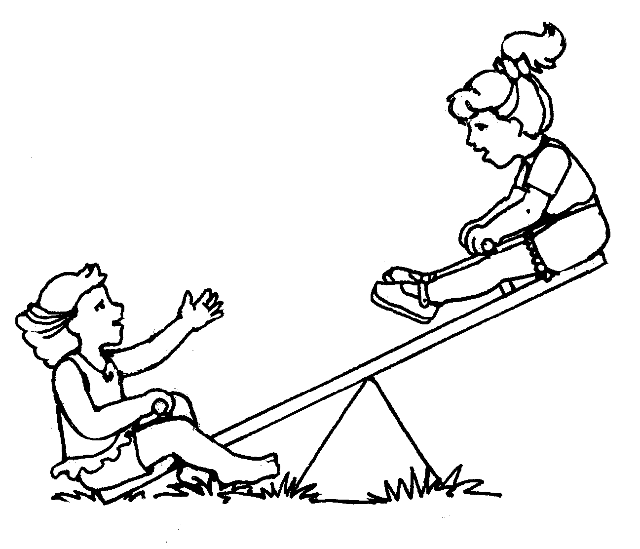 1297x1112 Seesaw Clipart Black And White