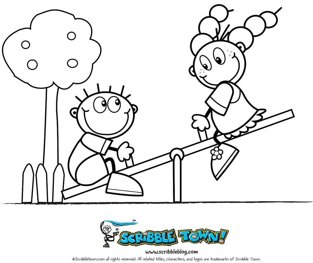 1024x860 Seesaw Coloring Page See More Crafts And Coloring Pages