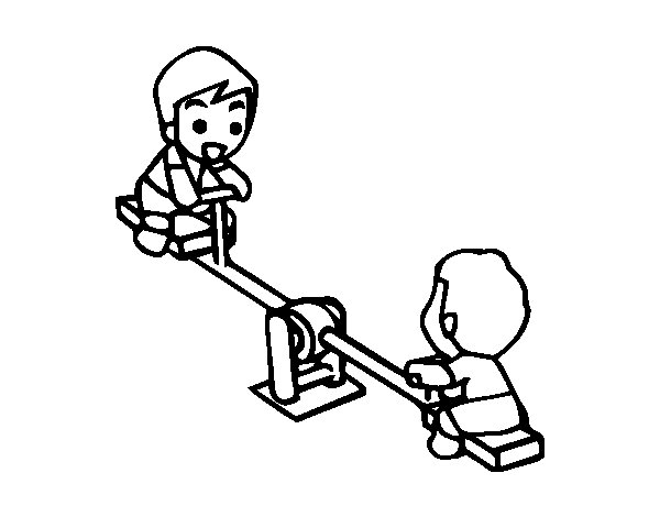 600x470 Seesaw Coloring Page