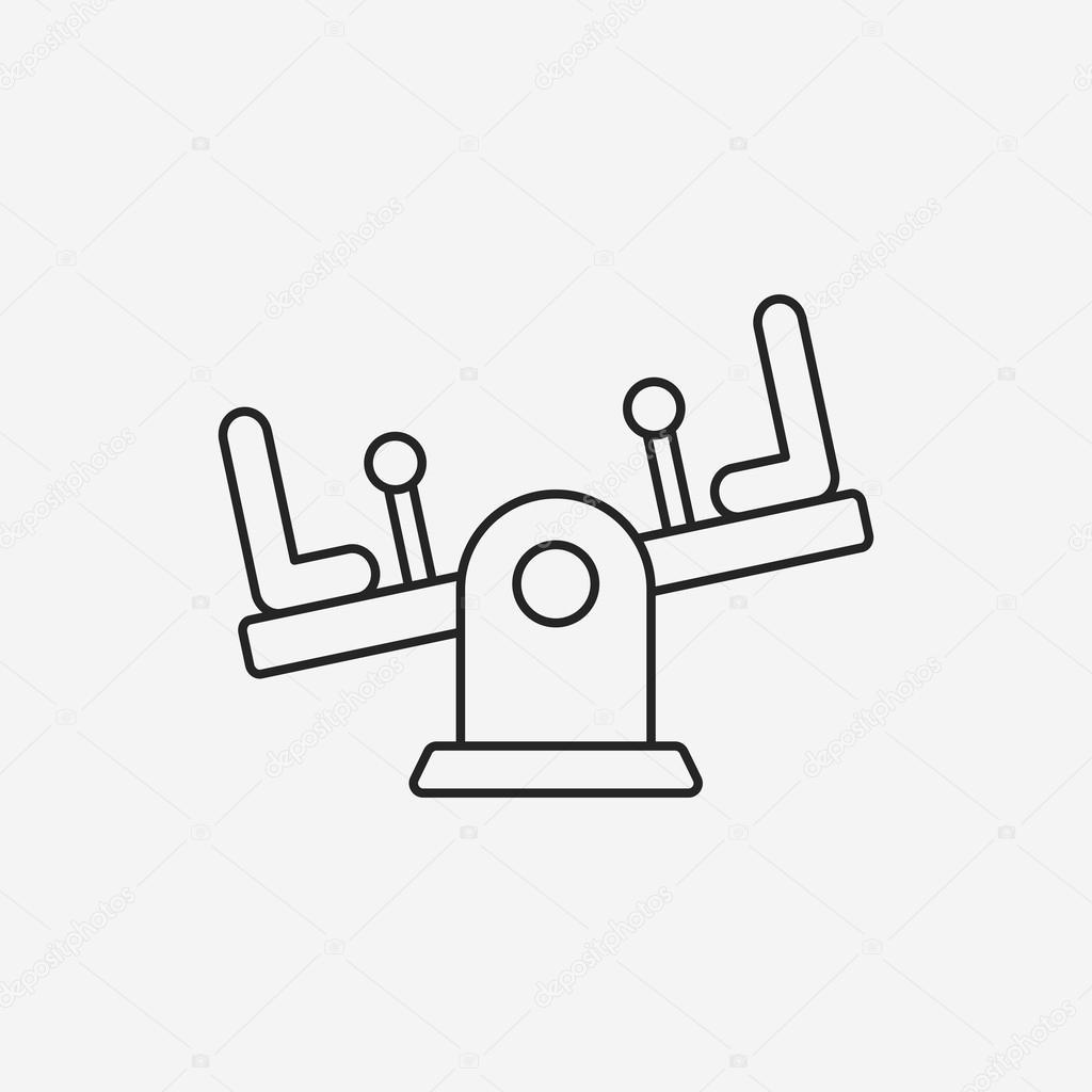 1024x1024 Playground Seesaw Line Icon Stock Vector Vectorchef
