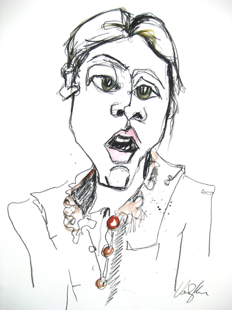 770x1027 Saatchi Art Self Portrait With Brown Frill Collar Drawing By
