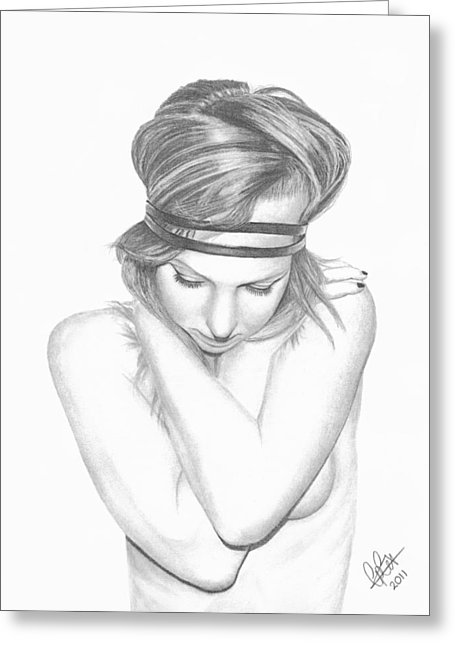 455x646 Self Embrace Drawing By Chris Cox