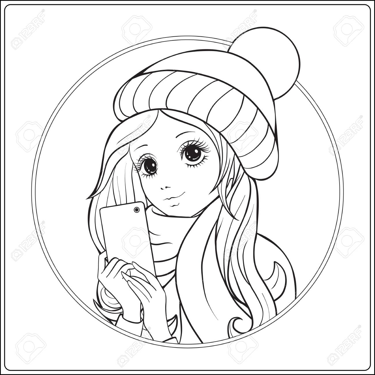1300x1300 Young Nice Girl With Long Hear In Winter Hat On Her Head Make